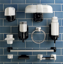 Ceramic towel bars soap dishes more from rejuvenation - Art deco bathroom lighting fixtures ...