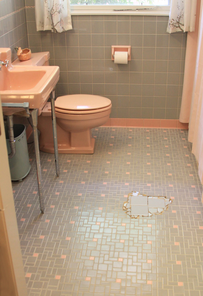 Can we help earthakitsch find tile to fill in the gap in her pink and gray bathroom floor