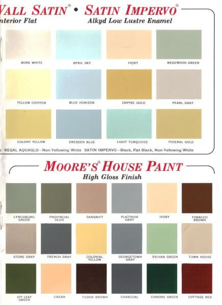 60 Colors From Benjamin Moore 39 S 1969 Paint Palette Retro Renovation