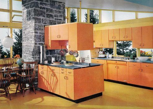orange kitchen cabinets yes i call this vintage - Retro Metal Kitchen Cabinets