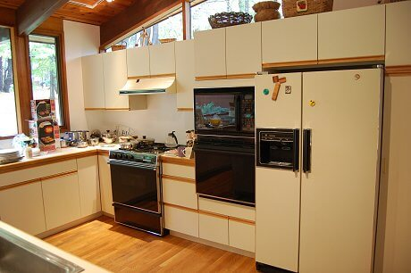 laminate and wood kitchen in 1988 contemporary house