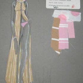 donfeld costume sketch for 1967 claudia cardinale film dont make waves