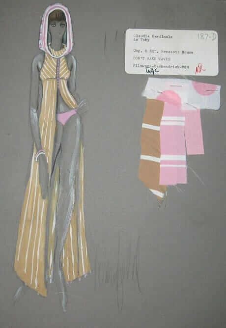 donfeld costume sketch for 1967 claudia cardinale film dont make waves
