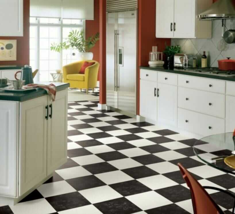 black and white checkerboard flooring