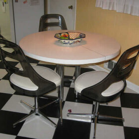 black and white ceramic tile checkerboard floor