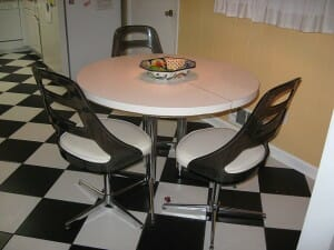 black and white ceramic tile checkerboard floor