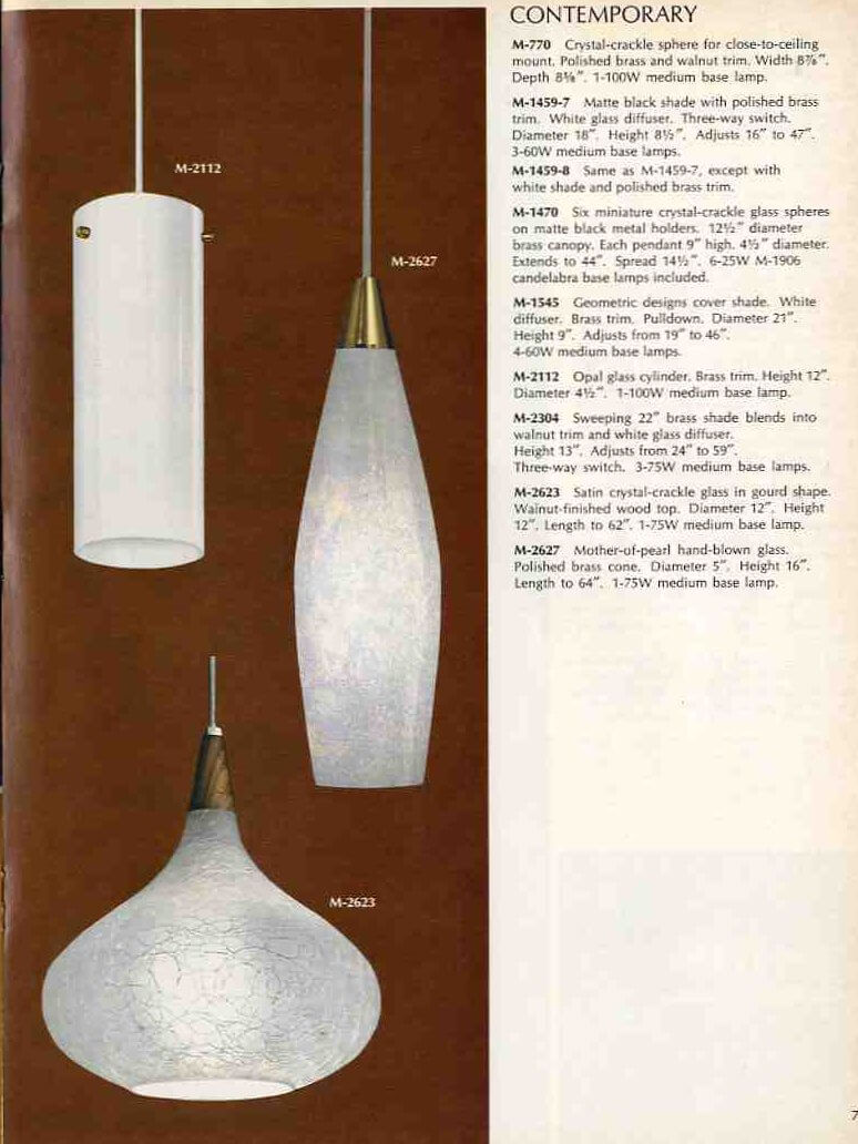 1969 pendant lighting