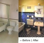G.G.'s blue Arts & Crafts bathroom