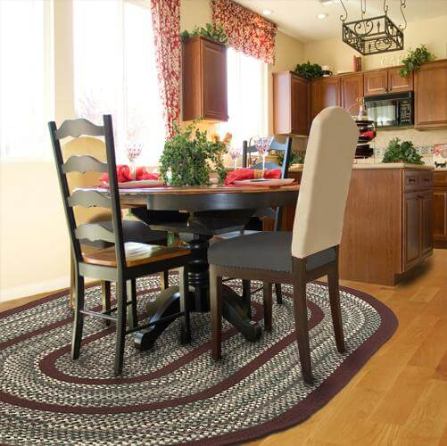 braided rug in kitchen