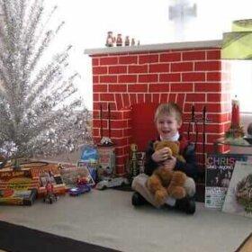 vintage-cardboard-fireplace-for-christmas