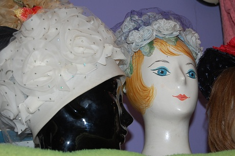 vintage hats on vintage wigstands