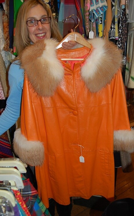 vintage orange leather ladies jacket 1970s with fur