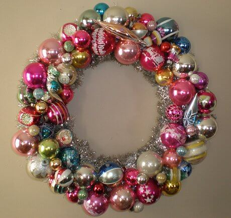 christmas wreath made from vintage shiny brite ornaments