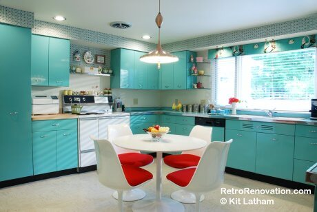 1960s blue kitchen