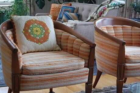 orange chairs orange and gren bargello pillos