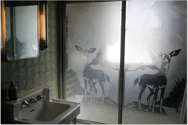 shower door with deer