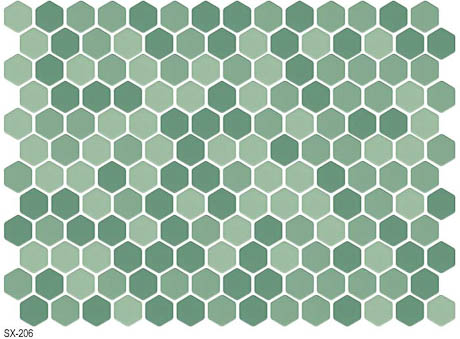 tea green hexagonal floor tile