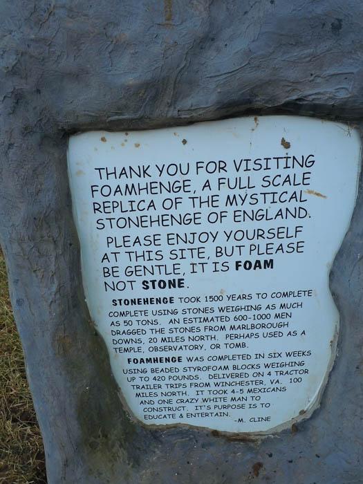foamhenge sign