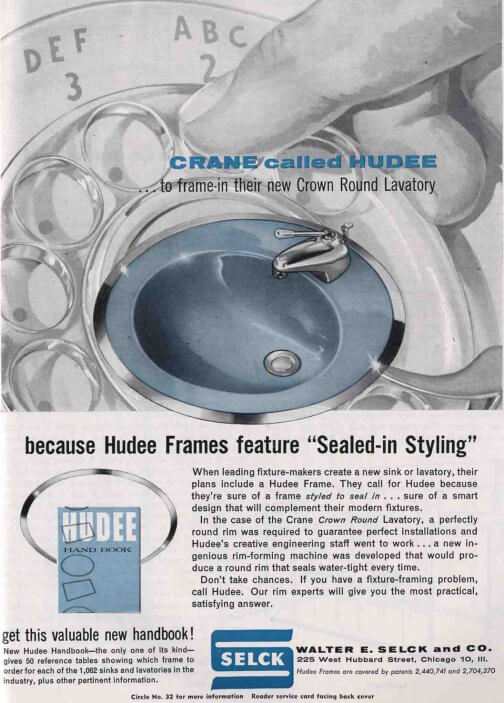 ad for metal ring around vintage bathroom sink