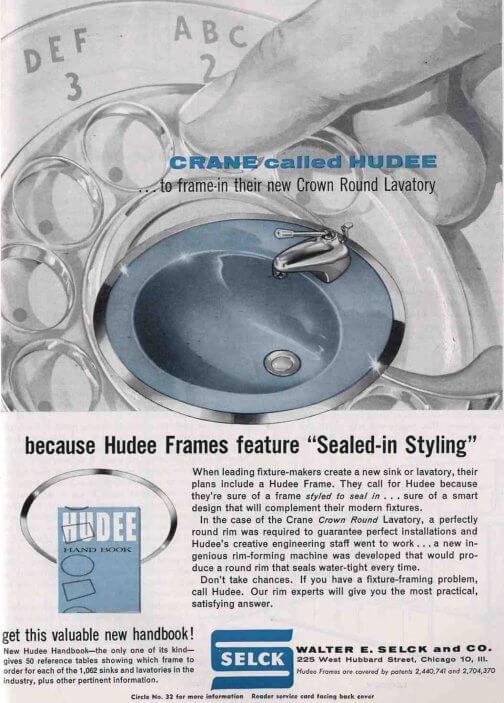 ad for metal ring around vintage bathroom sink