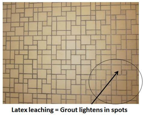 latex leaching in grout