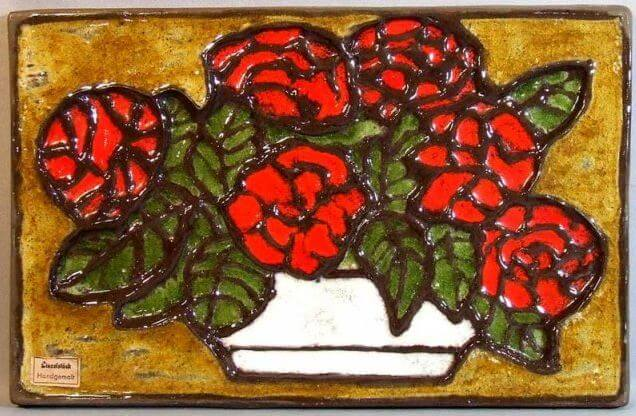 mid century modern tile red geraniums