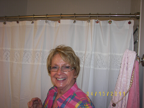 aunt mary anne helps decorate mom's bathroom