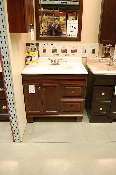 cherry bathroom vanity from lowes