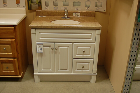white bathroom vanity from lowes