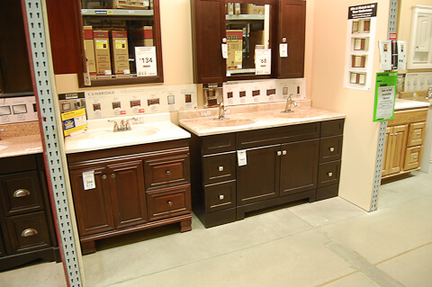 A Vanity For The Black And White S Bathroom Day Gut - Lowes bathroom cabinets and vanities