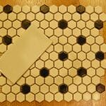 black and white octagon and dot tile and subway tile