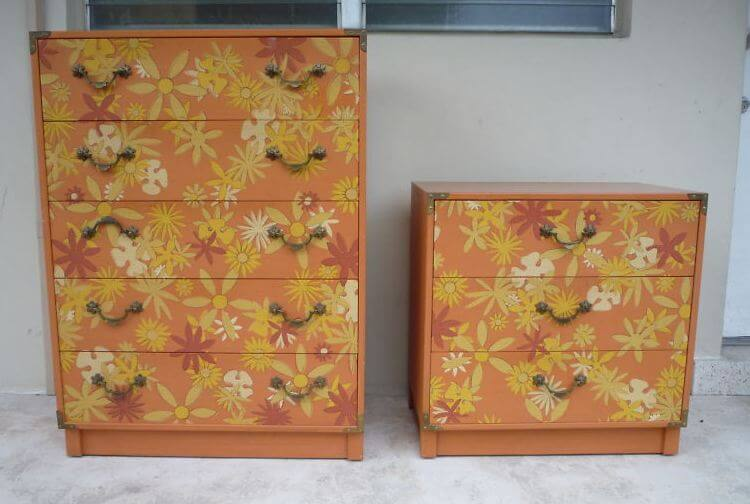 1970s drexel flower power whimsy dressers