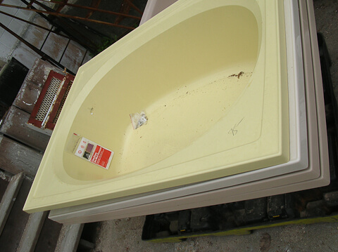 vintage yellow whirlpool tub NOS