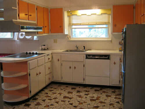 1960s Starburst White And Orange Laminate Kitchen Retro