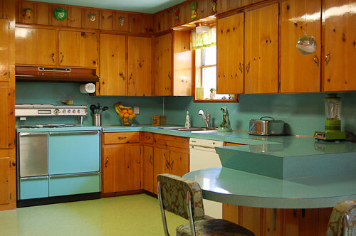 beautiful knotty pine kitchen on retro renovation blog