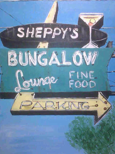 oil painting of a vintage neon sign