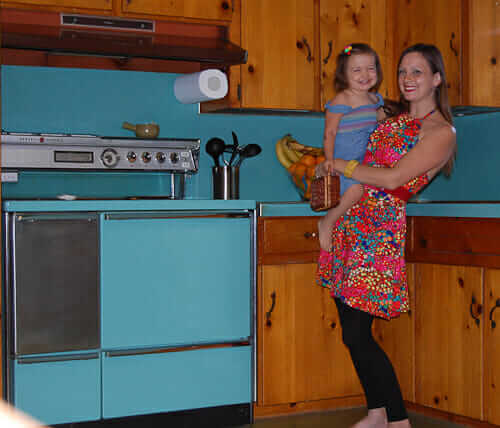 knotty pine kitchen blue appliances