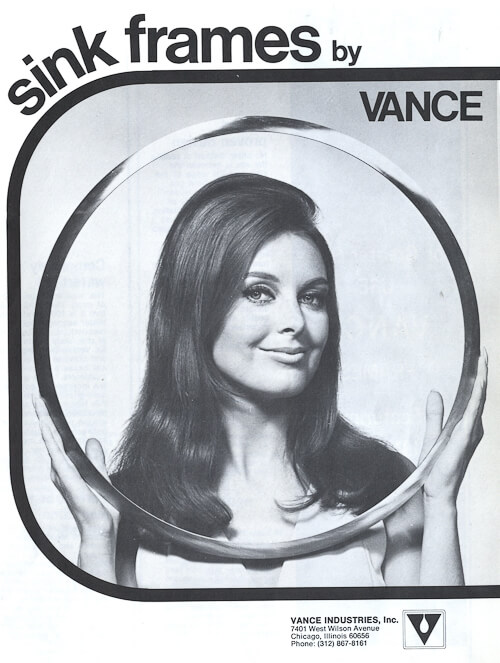 1960s brochure about metal sink rim from vance industries