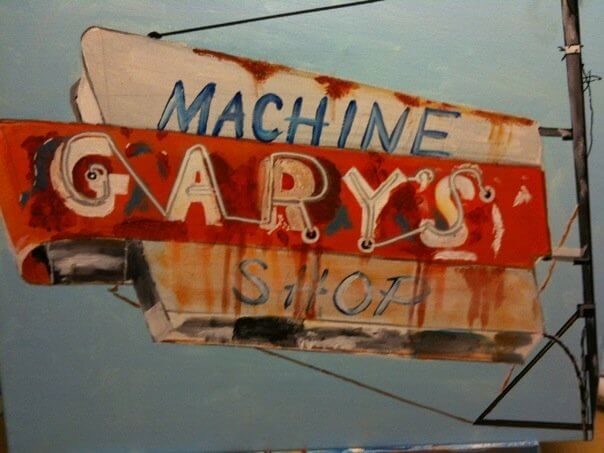 painting of a vintage neon sign