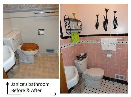 Janice adds a 1950s pink bathroom to her mid century house for Painting bathroom tile before and after