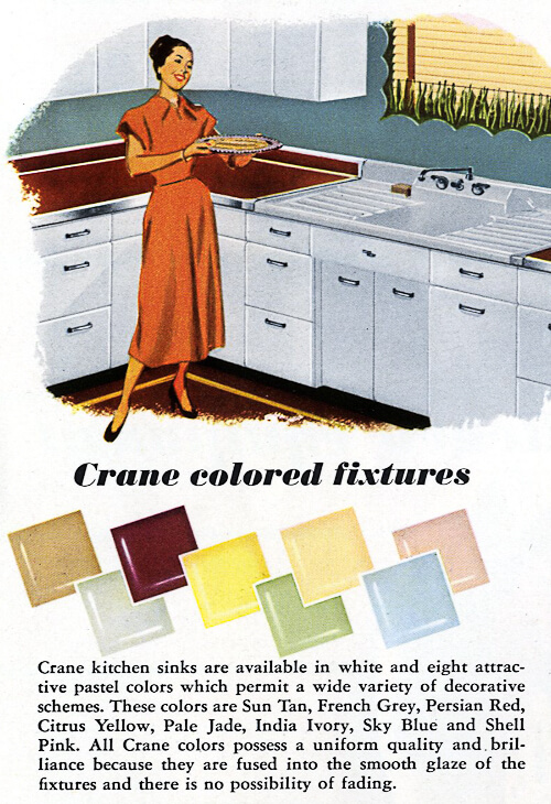 eight colors of vintage crane kitchen sinks