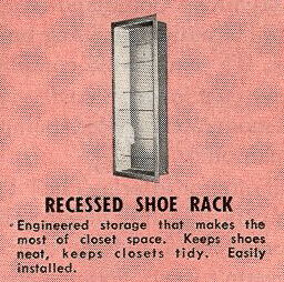 vintage recessed metal shoe rack