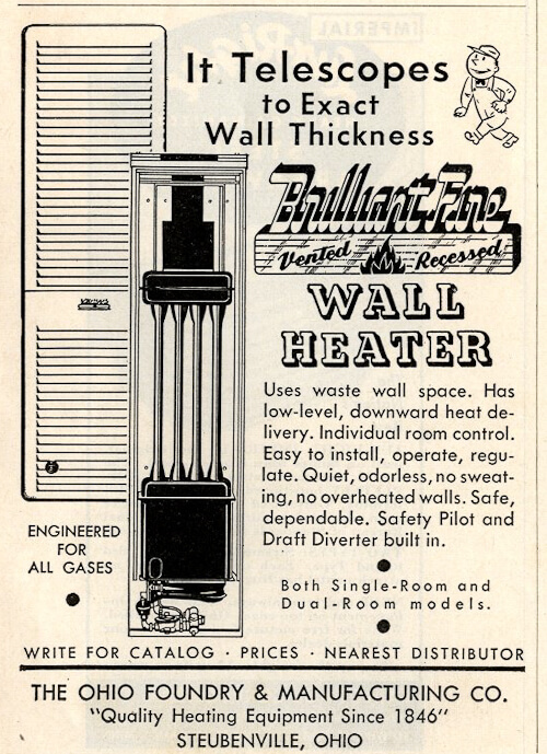 vintage recessed telescoping wall heater