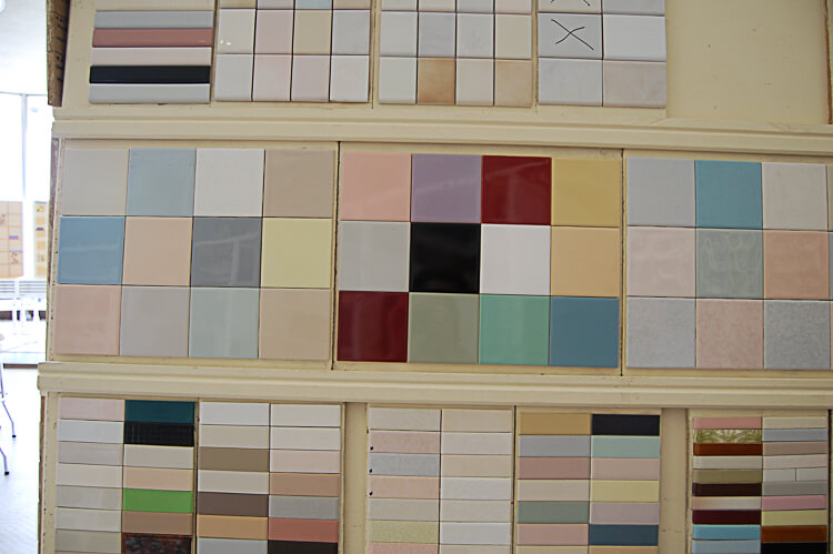 1950s and 1960s bathroom tile in a wide variety of pastel colors