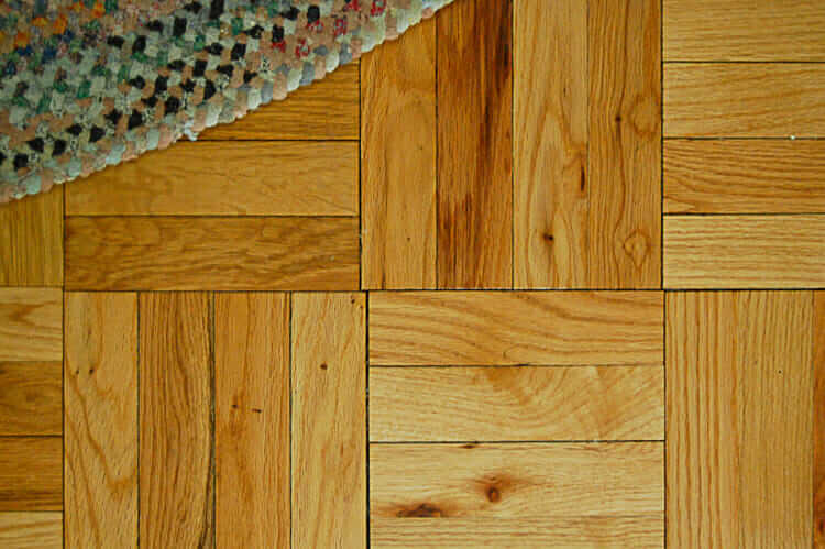 vintage oak parquet flooring in basketweave layout
