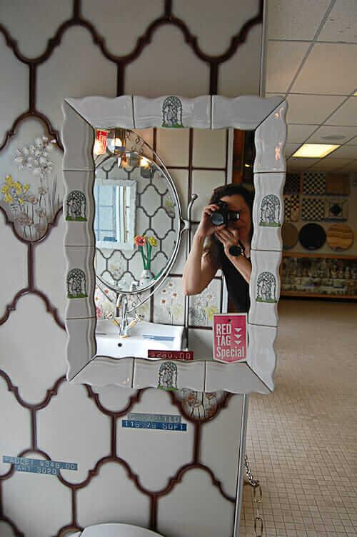 vintage ceramic mirror