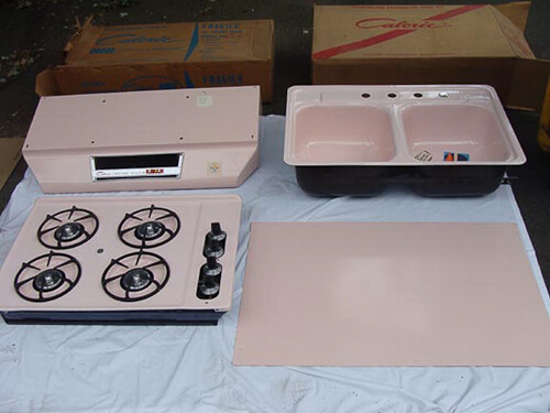 New Old Stock pink Caloric kitchen appliances