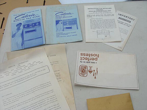 vintage Caloric kitchen appliances original brochures