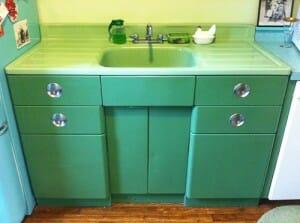 vintage jadeite porcelain drainboard sink and metal sink cabinet