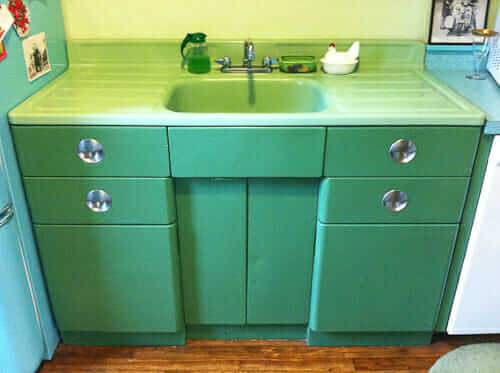 vintage jadeite porcelain drainboard sink and metal sink cabinet